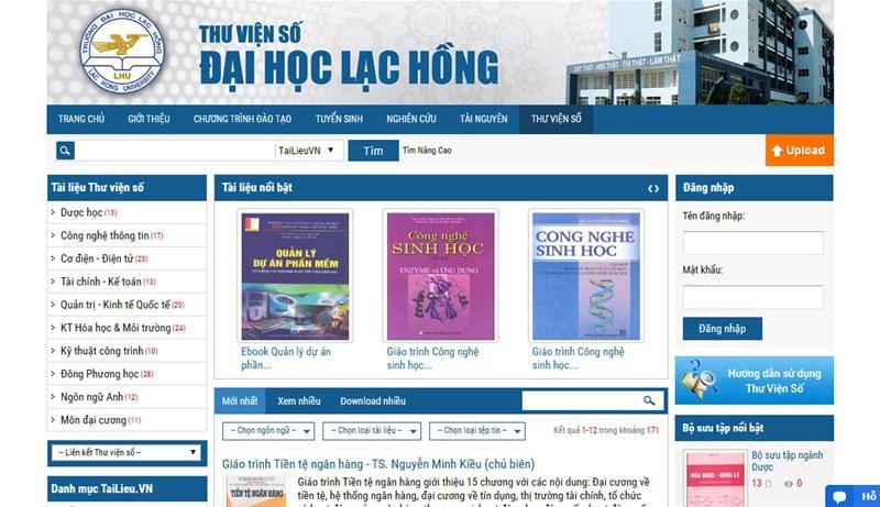 trang thư viện số đại học Lạc Hồng